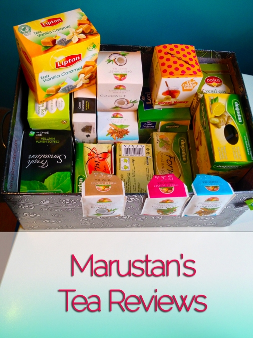 Box full of different Tea brands