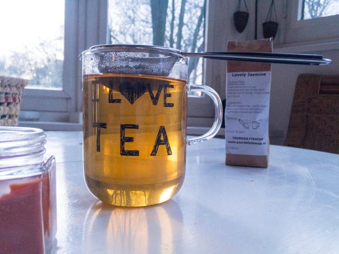 I Love Tea Cup with Lovely Jasmine Green Tea