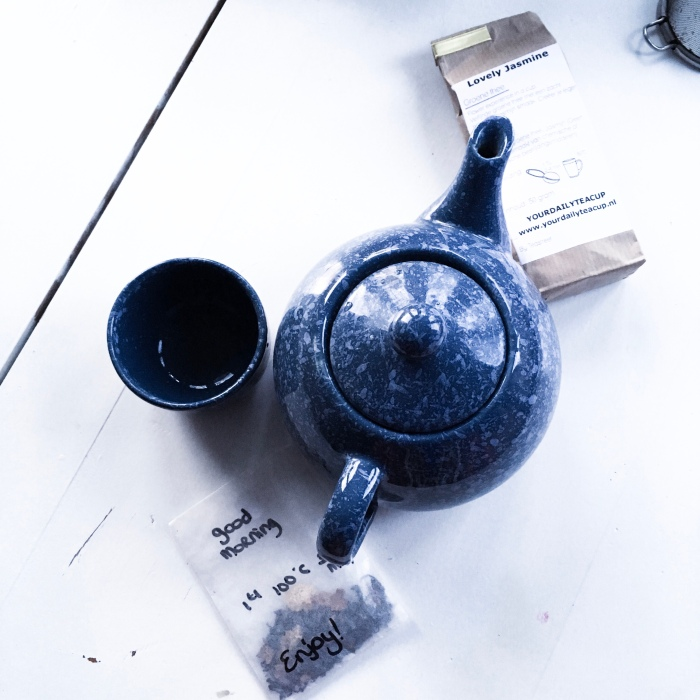 Flatlay teacup and tea